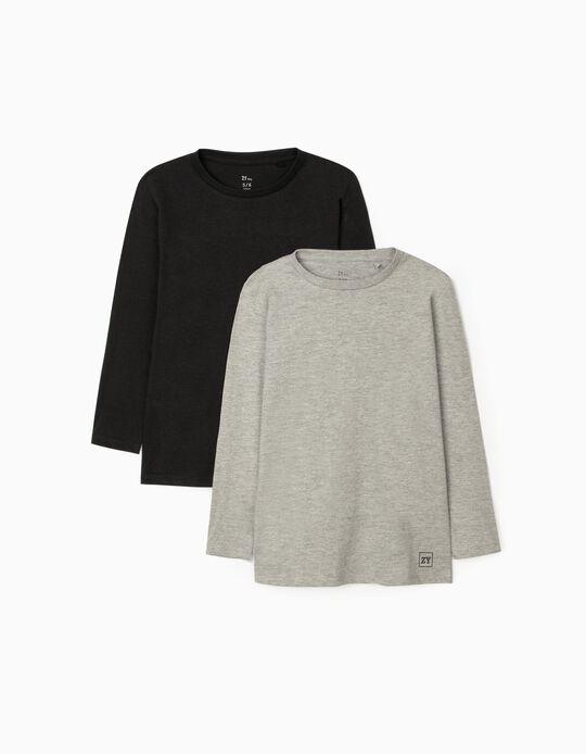 2 T-Shirt Manches Longues Basiques Garçon, Noir/Gris