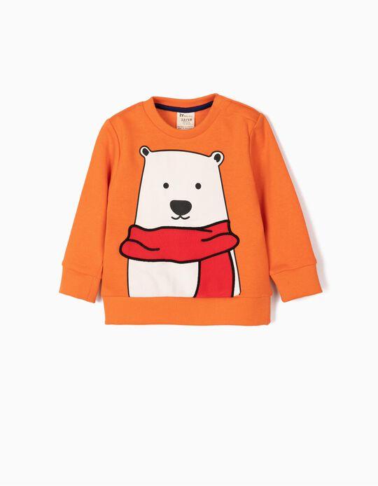 Sweatshirt para Bebé Menino 'Cute Bear', Laranja