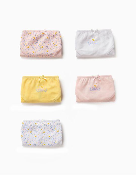 5 Braguitas para Niña 'Flowers', Multicolor