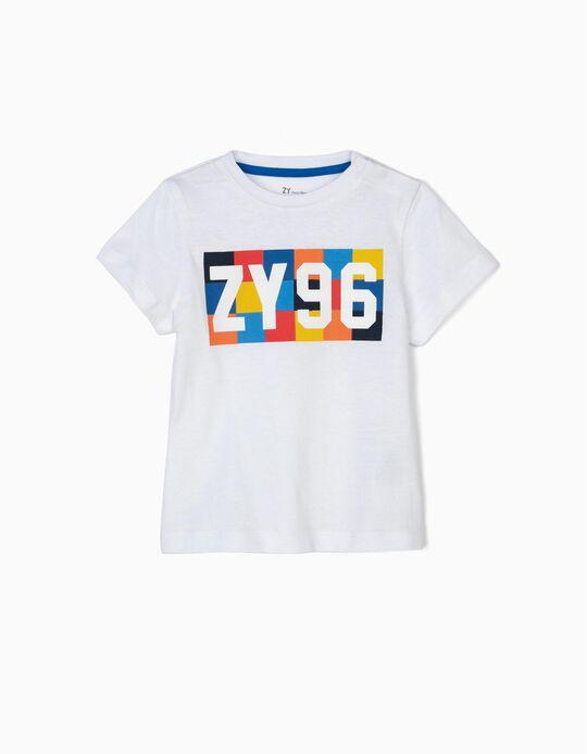 T-shirt para Bebé Menino 'ZY 96', Branco