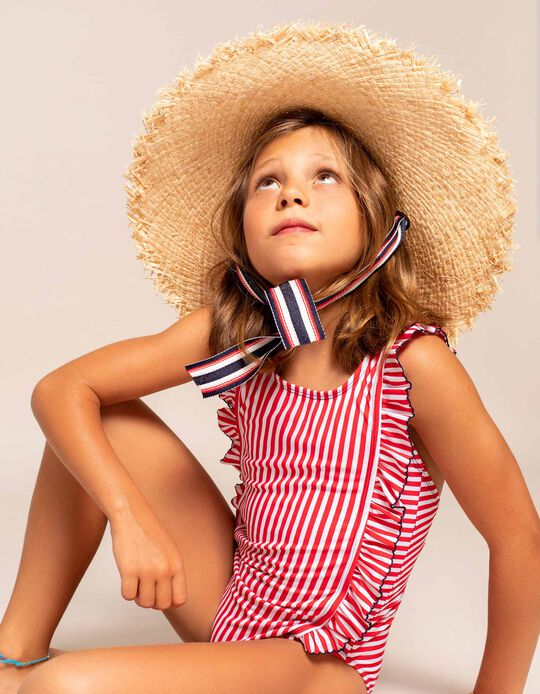 Wide Brim Straw Hat for Girls, Beige