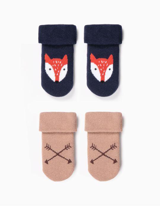 2 Pares Meias Antiderrapantes para Bebé Menino 'Fox', Azul/Castanho