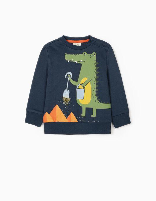 Sweatshirt para Bebé Menino 'Croc', Azul Escuro