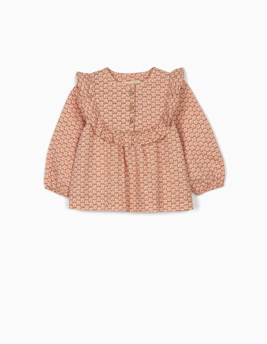 Floral Blouse for Baby Girls, Light Brown