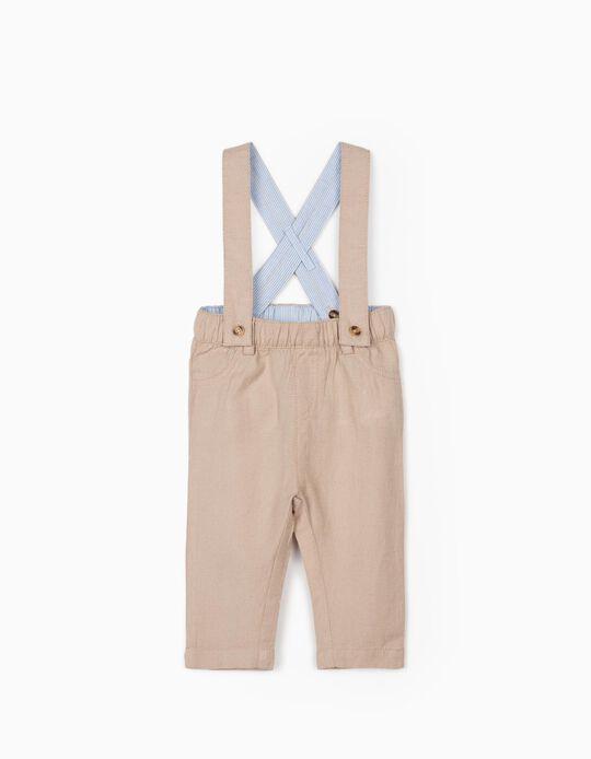 Pantalon à bretelles lin nouveau-né, beige