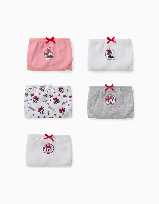 5 Briefs for Girls, 'Minnie Mouse', White/Grey/Pink