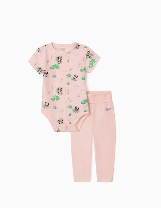 Bodysuit and Trousers for Newborn Baby Girls, 'Minnie Mouse', Pink
