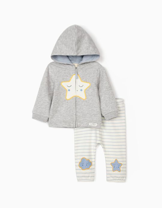Tracksuit for Newborn Baby Boys, 'Little Star', White/Grey/Blue