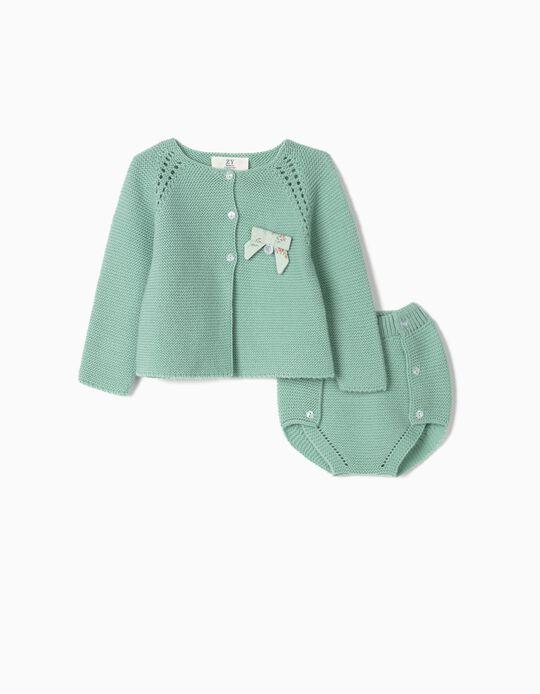 Casaco e Tapa-Fraldas de Malha para Recém-Nascida, Verde