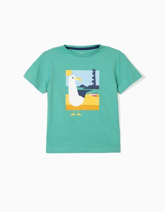 T-shirt para Menino 'Seagull', Verde