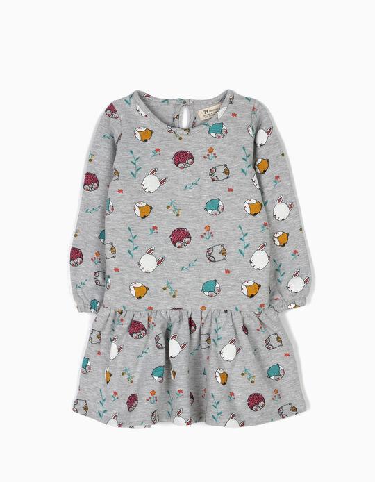 Vestido de Punto Cute Animals Gris