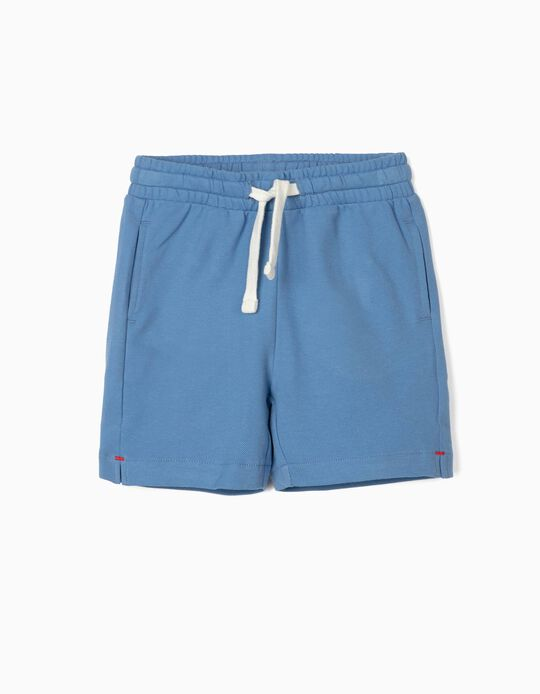 Piqué Knit Sports Shorts for Baby Boys, Blue