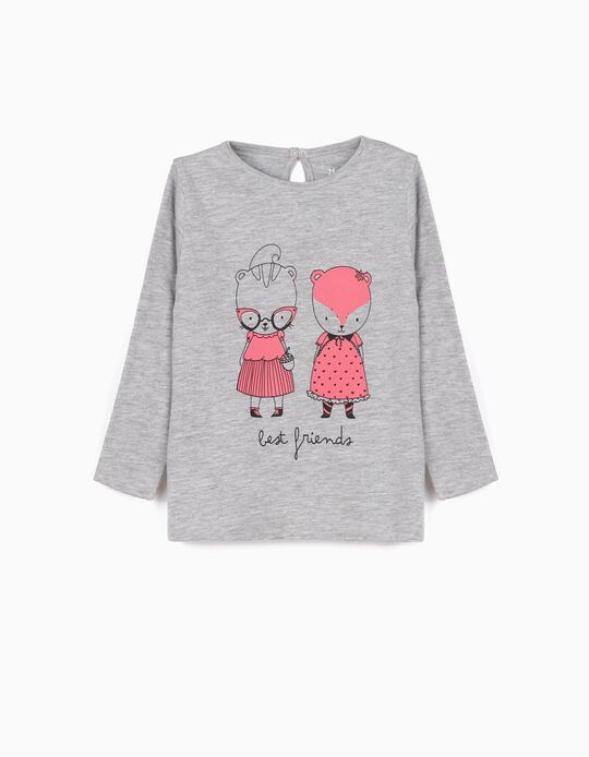 T-shirt Manga Comprida Best Friends Cinza