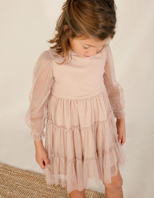 Vestido de Tul para Niña, Rosa Viejo