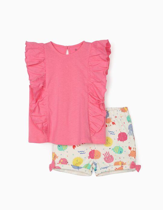 Camiseta y Short para Bebé Niña 'Sea Animals', Rosa/Blanco