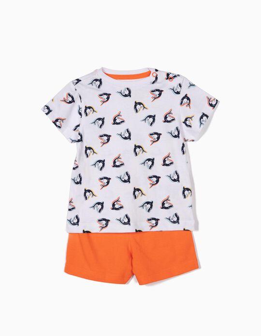 Pijama para Bebé Niño 'Sharks', Blanco y Naranja