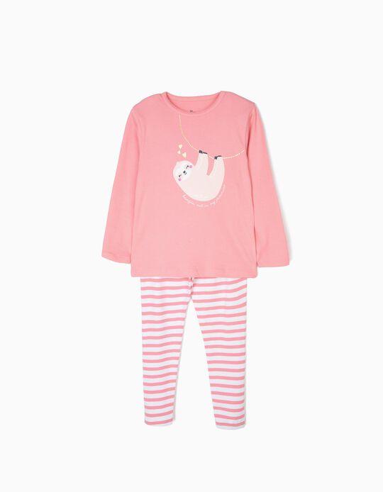 Pijama para Niña 'Sloth Jammies' Manga Larga, Rosa