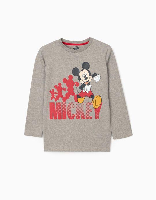 T-Shirt Manga Comprida para Menino 'Mickey', Cinza