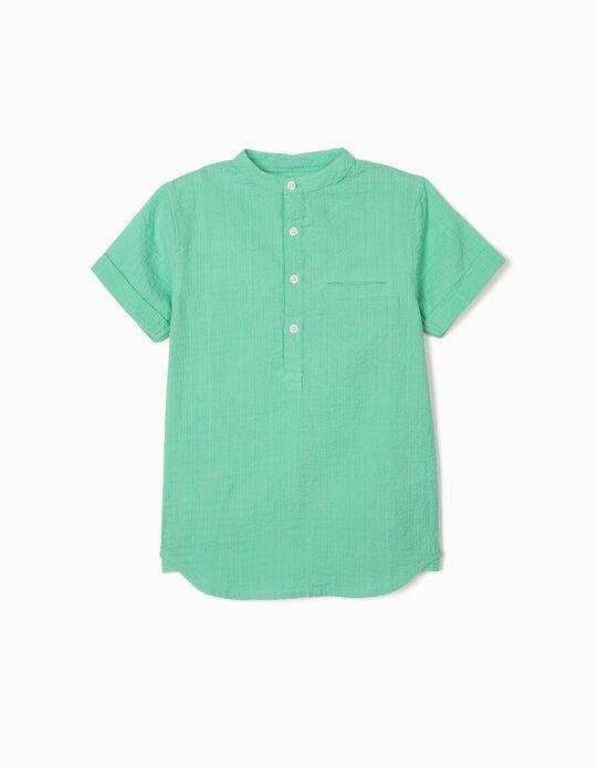 Camisa com Textura para Menino, Verde
