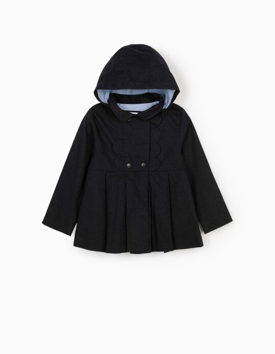 Hooded Parka for Girls, Dark Blue