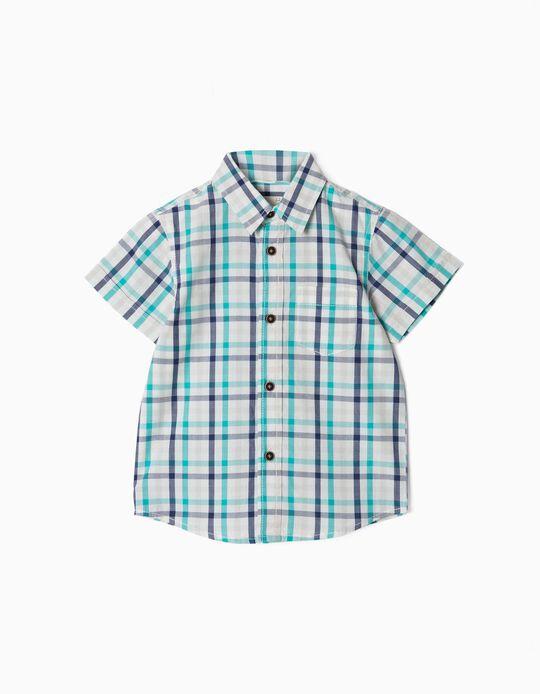 Plaid Short-Sleeved Shirt for Baby Boys, White