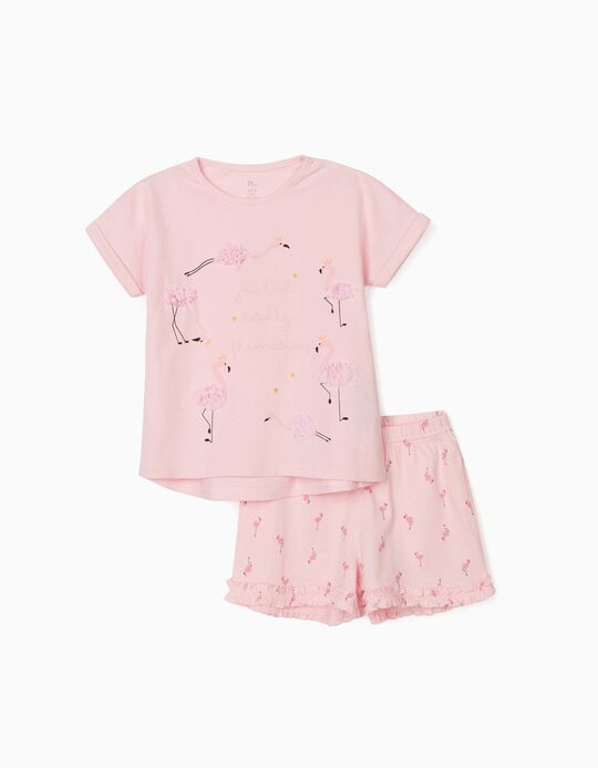 Pyjama fille 'Flamants', rose