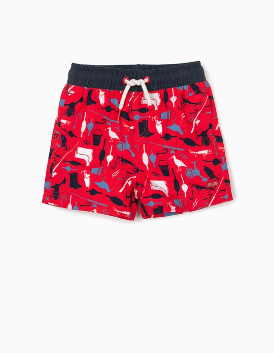Swim Shorts with UV 80 Protection for Baby Boys, Red