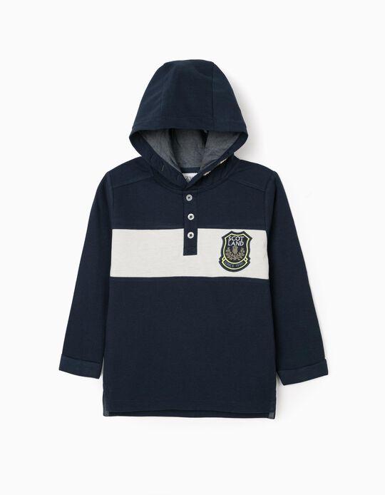 Hooded Polo Shirt for Boys 'Scotland', Dark Blue