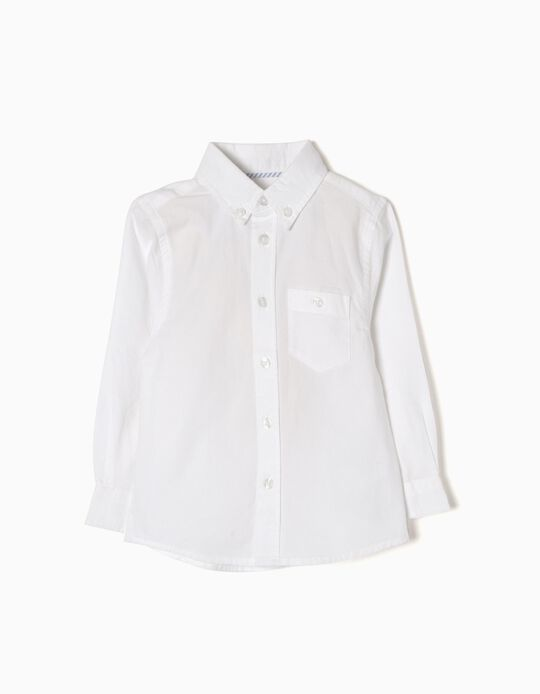 Long-Sleeve Shirt for Baby Boys, White