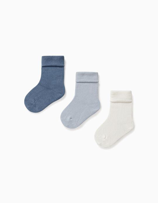 3 Pares de Calcetines con Vuelta para Bebé, Azul/Blanco