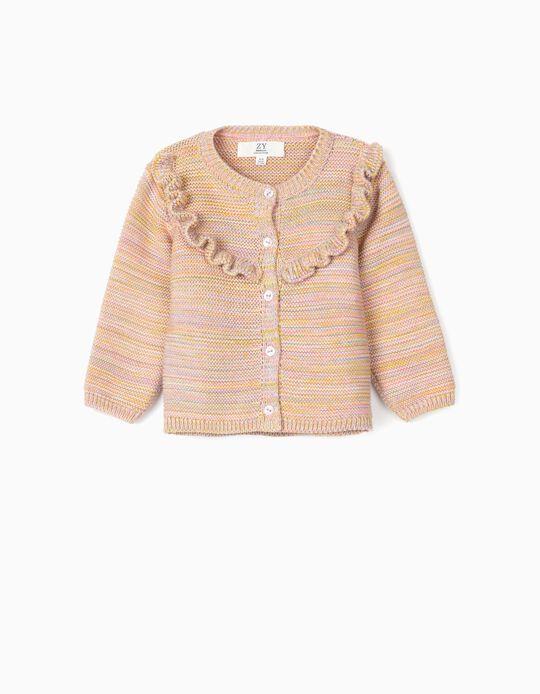 Casaco de Malha Tricotada para Recém-Nascida, Multicolor