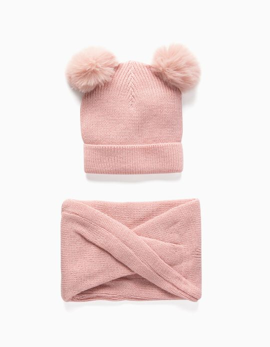 Beanie + Snood for Baby Girls, Pink