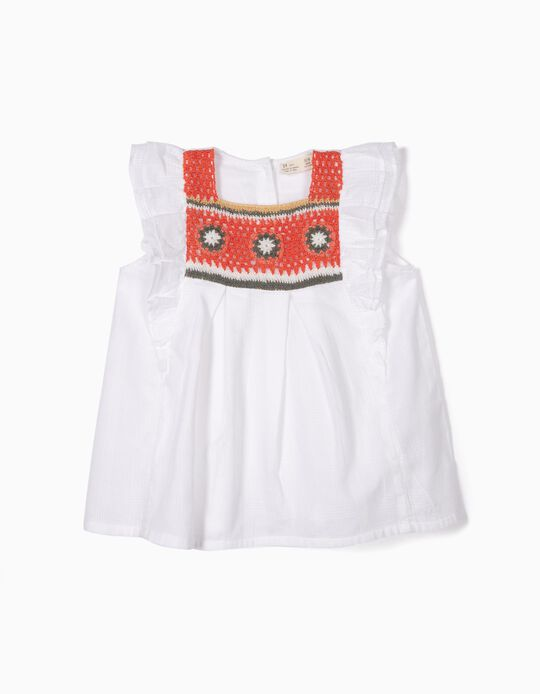 Blusa para Menina com Croché, Branco