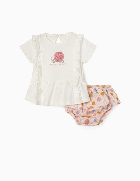 T-shirt et short nouveau-née 'Bambi', blanc/rose