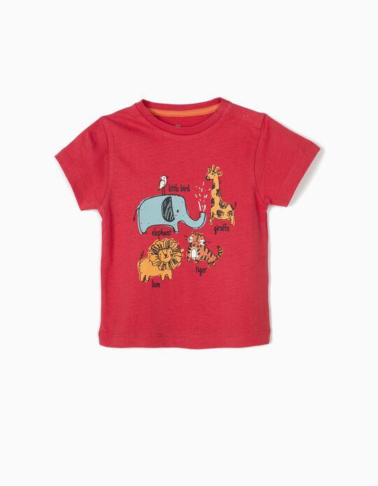 T-shirt para Bebé Menino 'Animals', Vermelho