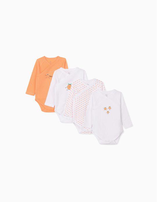 4 bodies bébé 'Orange', blanc/orange