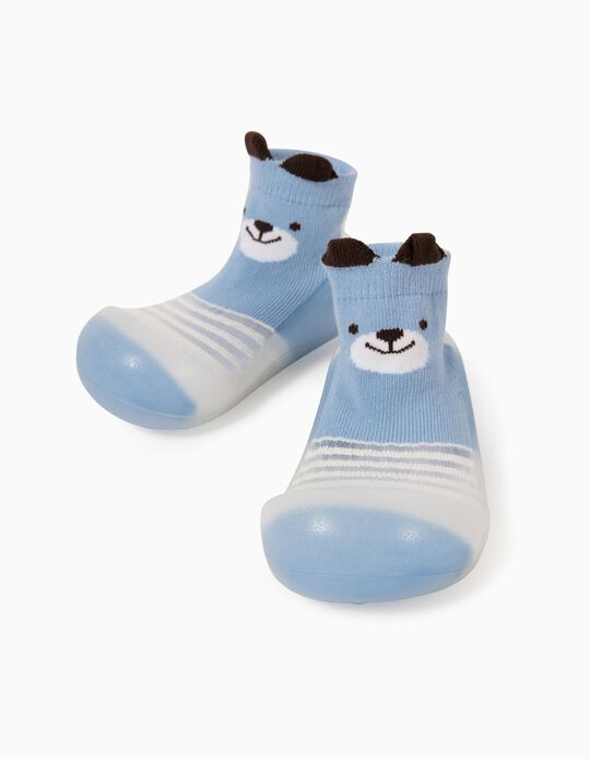Meias-Pantufas Antiderrapantes para Bebé 'Cute Bear', Azul/Branco