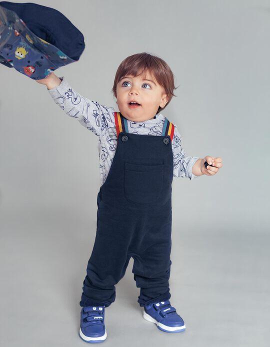 Jardineiras e T-shirt Manga Comprida para Bebé Menino, Azul/Cinza