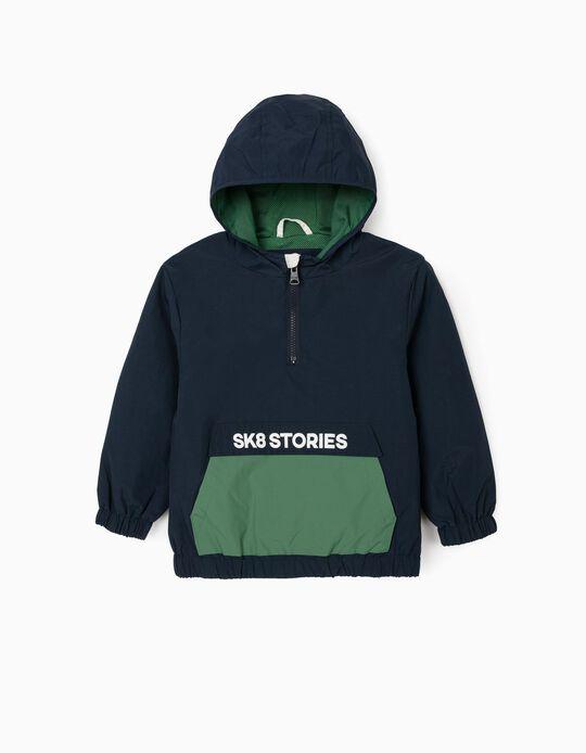 Camisola Corta-Vento para Menino 'SK8 Stories', Azul/Verde