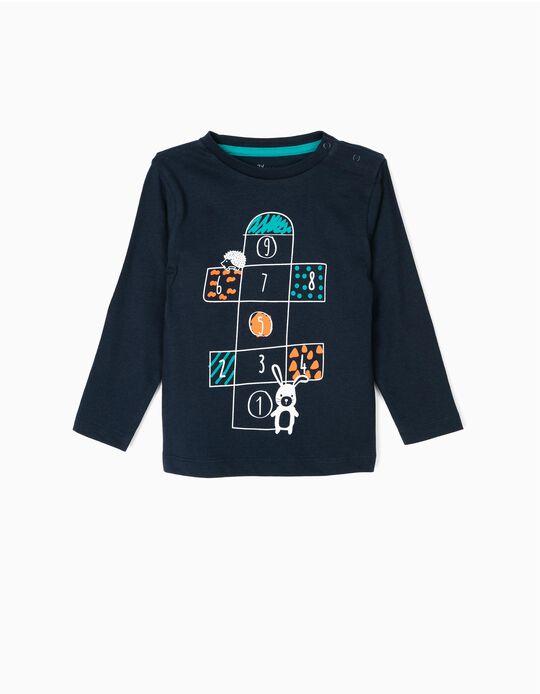 Camiseta de Manga Larga para Bebé Niño 'Playground', Azul Oscura