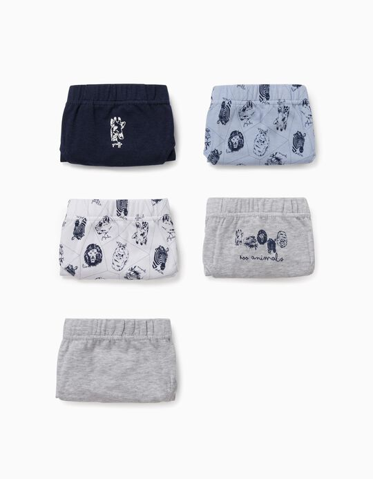 5 Briefs for Boys, 'Animals', Grey/Blue/White