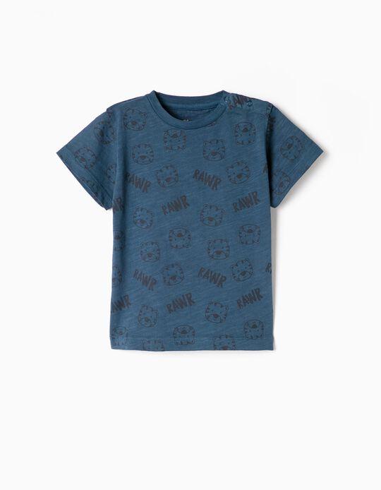 Camiseta para Bebé Niño 'Rawr', Azul Oscuro