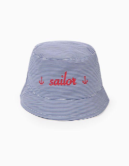 Chapéu para Bebé Menino 'Sailor' e Riscas, Azul