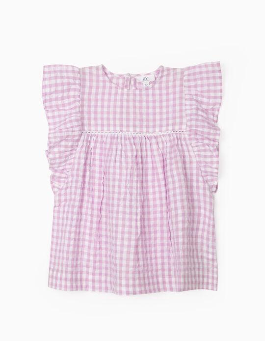 Blusa Xadrez para Menina 'Vichy', Lilás/Branco