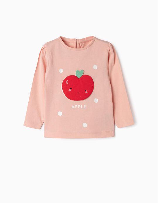 T-shirt Manga Comprida para Bebé Menina 'Apple', Rosa