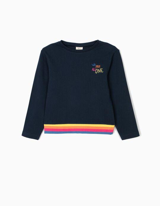 Sweatshirt para Menina 'We Are All One', Azul Escuro
