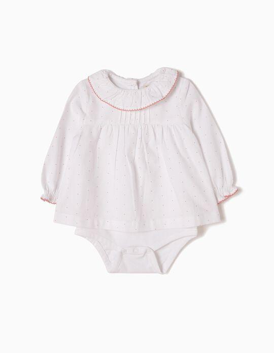 Body-Blusa Blanca Lunares Rosa