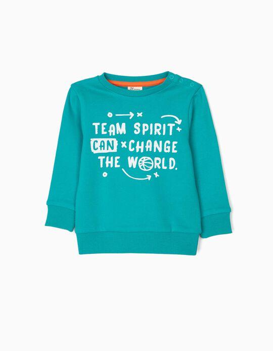 Sweatshirt para Bebé Menino 'Team Spirit', Verde-Azulado