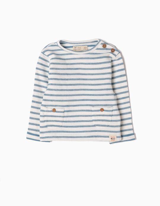 Sweatshirt Estampada Riscas Azuis
