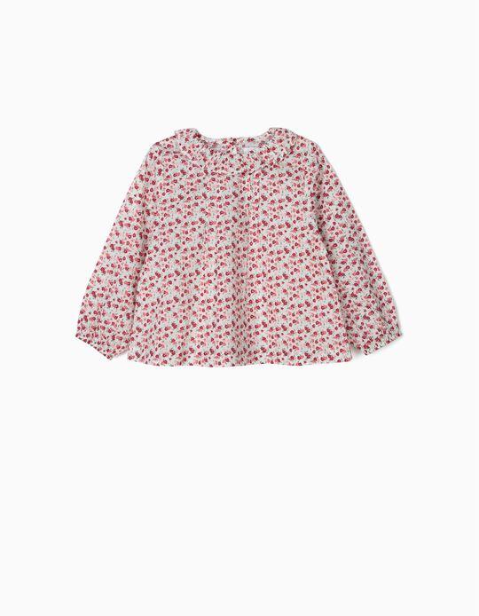 Blusa con Flores para Bebé Niña, Branca y Rosa